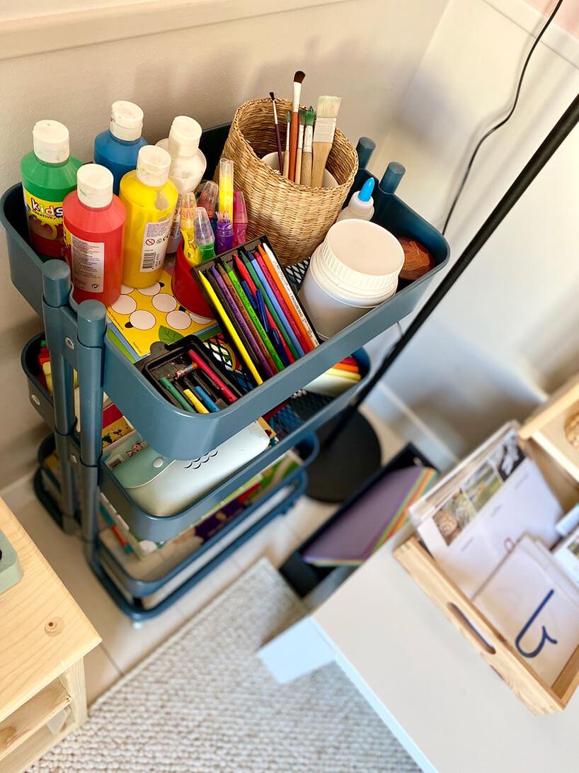 pokój dziecięcy wstylu Montessori od KUUDO metalowy wysoki wózek na przypory do malowania dla dzieci