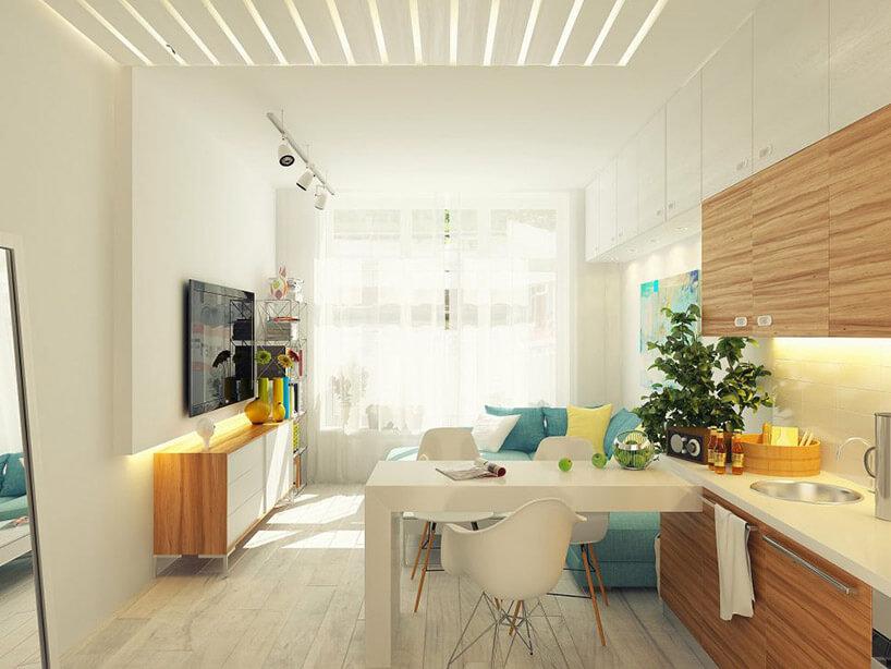jasne połączenie małej kuchni zzsalonem