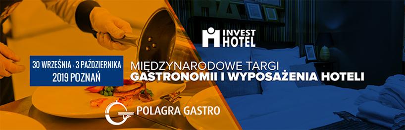 żółto-niebieski plakat Polagra Gastro 2019 iInvest Hotel 2019