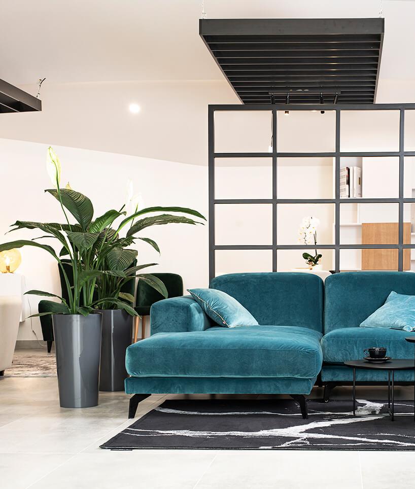 niebieska sofa narożna Rosanero na czarnym dywanie obok wysokiego kwiatka wszarej donicy