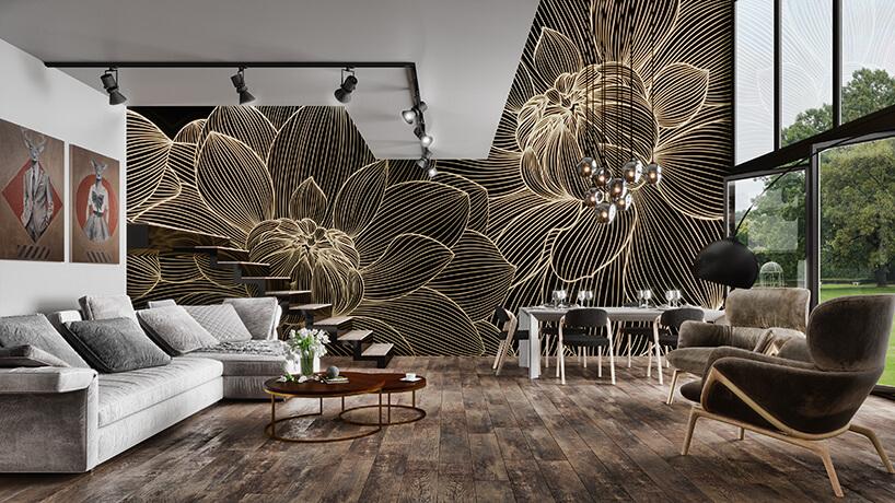 wyjątkowe wnętrze zczarną ścianą zjednokolorową grafiką pąków kwiatów