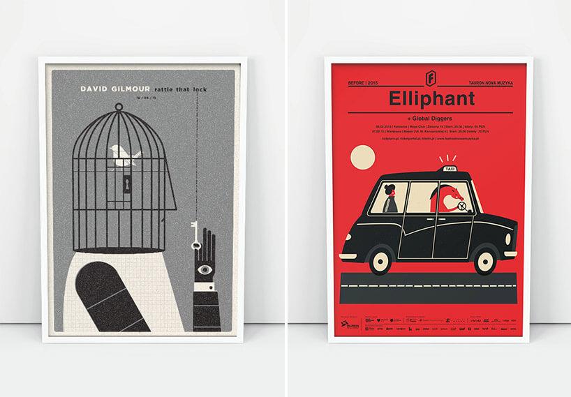 dwa plakaty rysunkowe na szarym tle