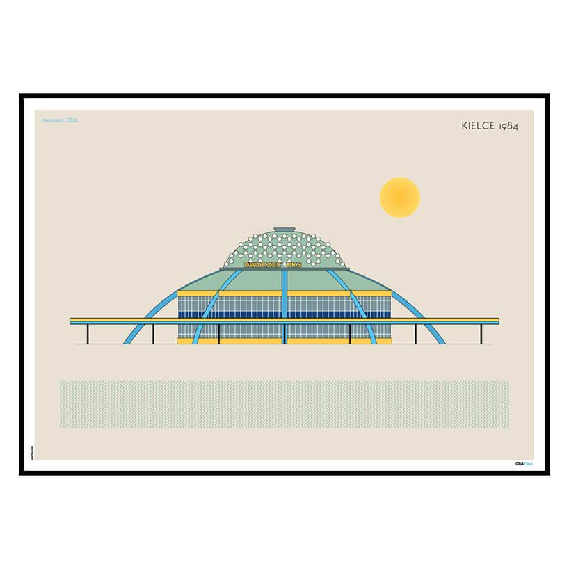 rysunkowy plakat dworca pks Kilece 1984