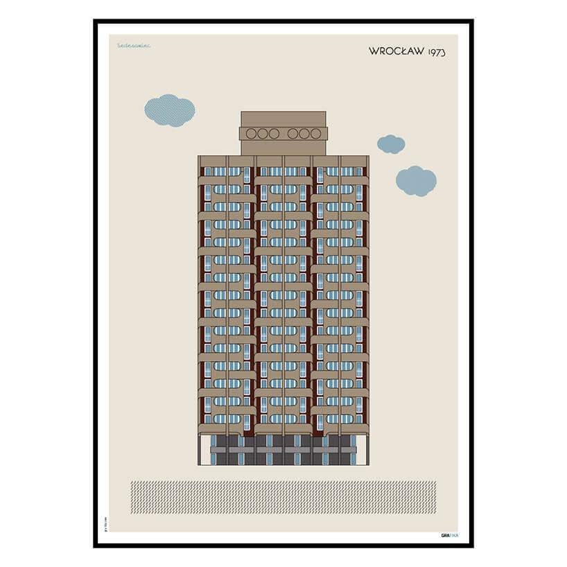 rysunkowy plakat wieżowca Wrocław 1973