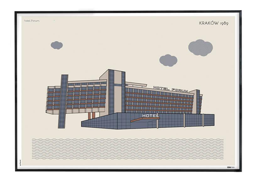 rysunkowy plakat Hotelu Forum Kraków 1989