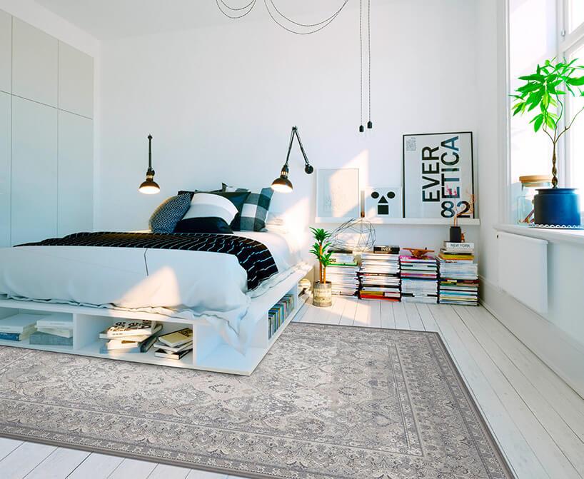 jasno szary wełniany dywan wsypialni