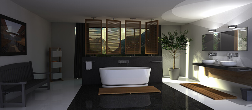elegancka biała łazienka zdrewnianymi akcentami zczarnymi płytkami pośrodku zibiałą wolnostojącą wanną