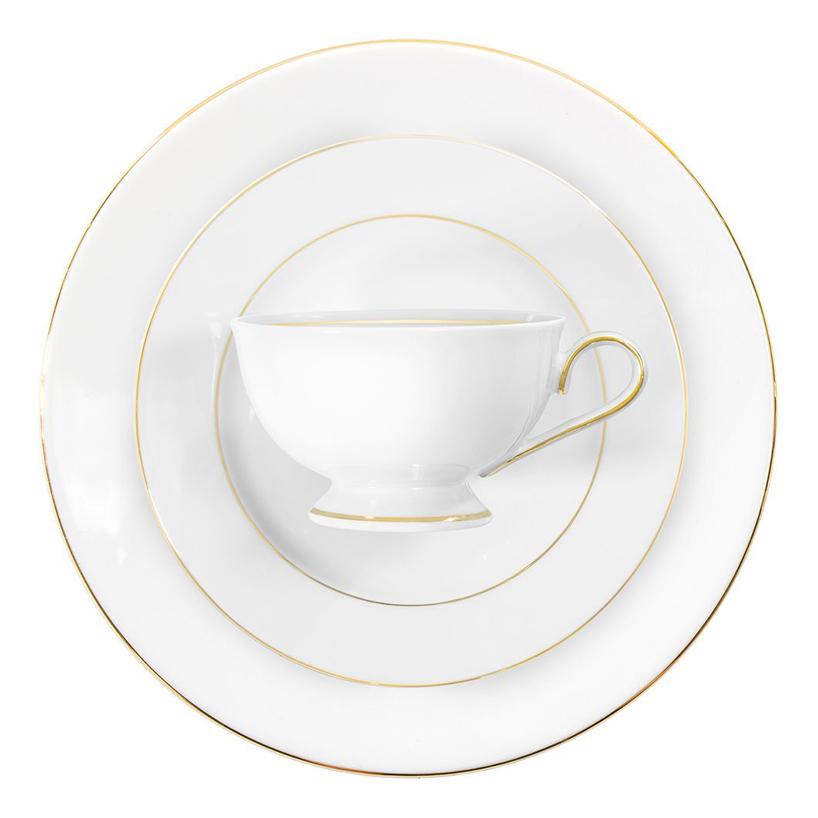 biała filiżanka na białym talerzu Astra, Ćmielów