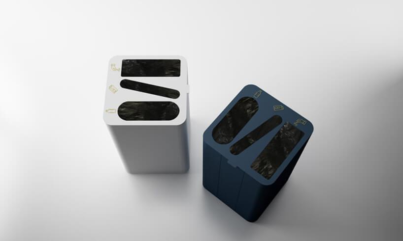 biały igranatowy pojemniki do segregacji odpadów Drop Top Triple od Systemtronic