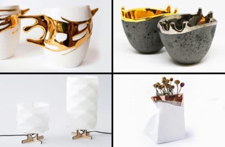 nowoczesne formy na prezent ze złotymi zdobieniami