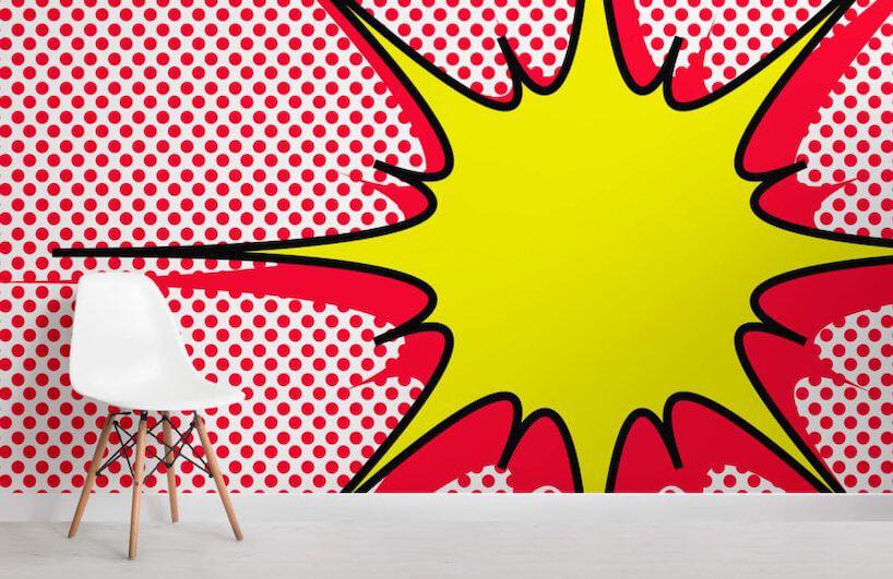 tapeta Murals Wallpaper wstylu pop art biała ściana wczerwone kropki zżółta chmurką zczerwoną obwódka symbolizująca uderzenie