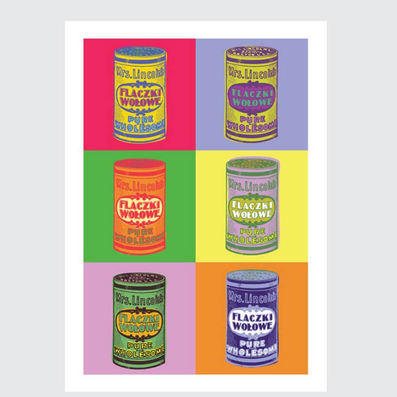 tapeta Pop Art do kuchni wstylu pop art sześć różnokolorowych puszek znapisem flaczki wołowe wsześciu kwadratach