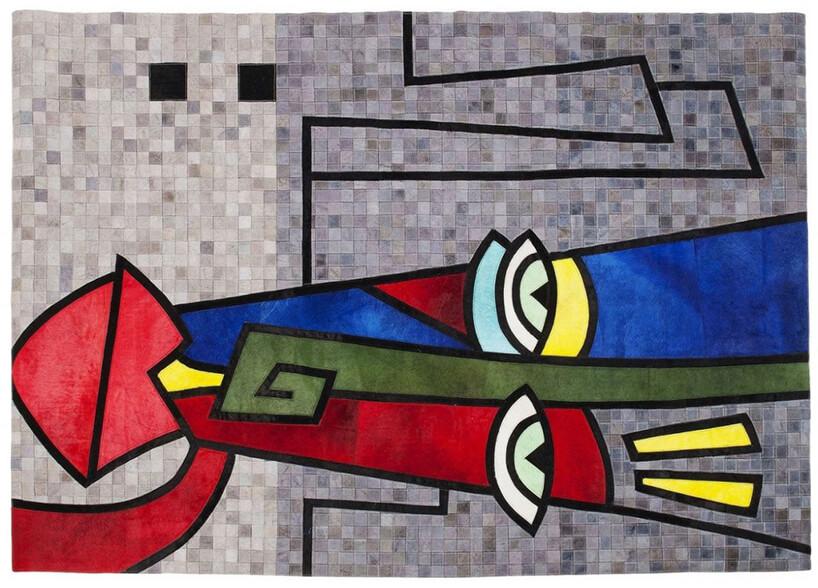 szary dywan Face Pop Art zkolorową rysunkową głową