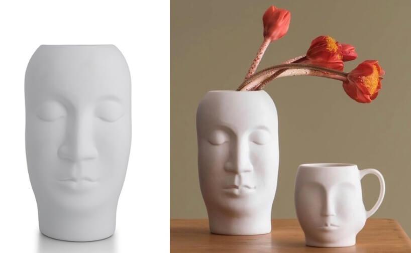 waza Enigma wstyku pop art niepomalowana powierzchnia ludzkiej twarzy wformie wazy jak ikubka