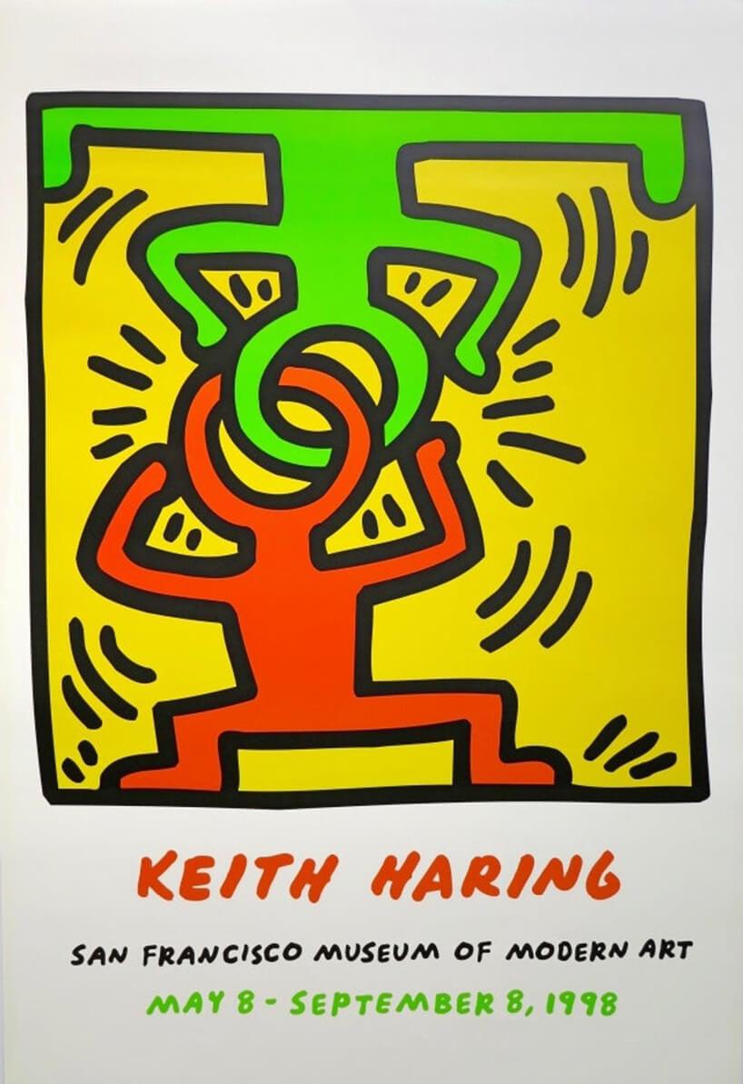 plakat plakat Head Stand wstylu pop art zielone iczerwone ikony postaci połączone głowami