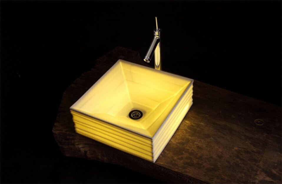 podświetlana kwadratowa umywalka