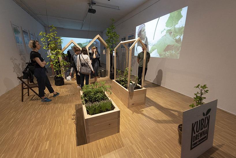 odwiedzający na ekspozycji zroślinami wdonicach