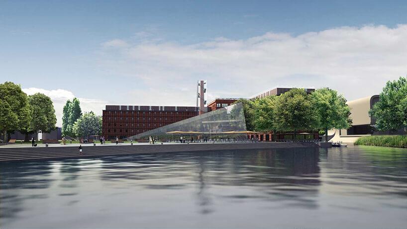 woda szklana ściana awtle brązowy budynek