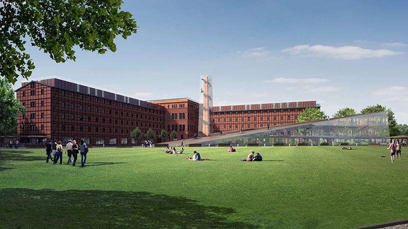 zielona trawnik zludźmi wtle nowoczesny brązowy budynek