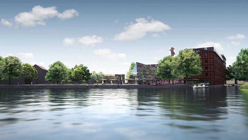 woda zielone drzewa ibrązowy nowy budynek