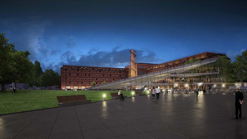 muzeum wieczorem zniebieskim niebem