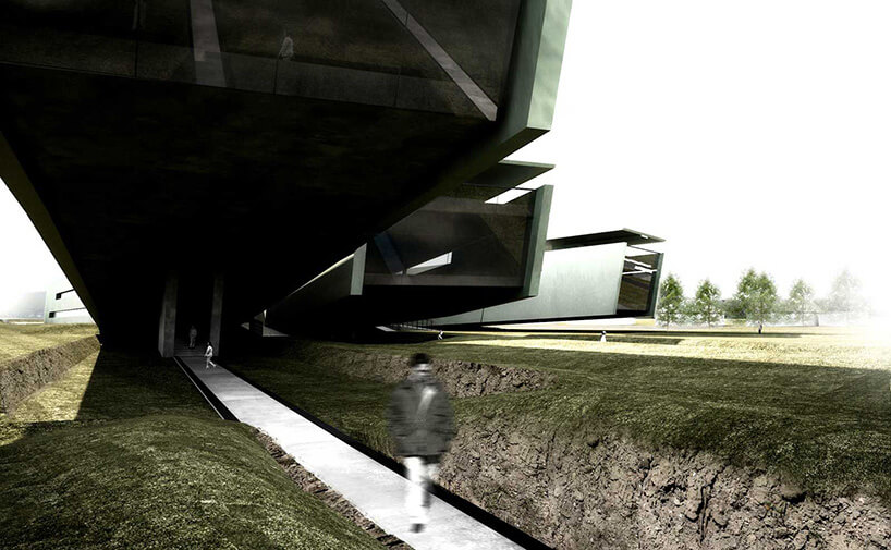 duży budynek zbladą trawą