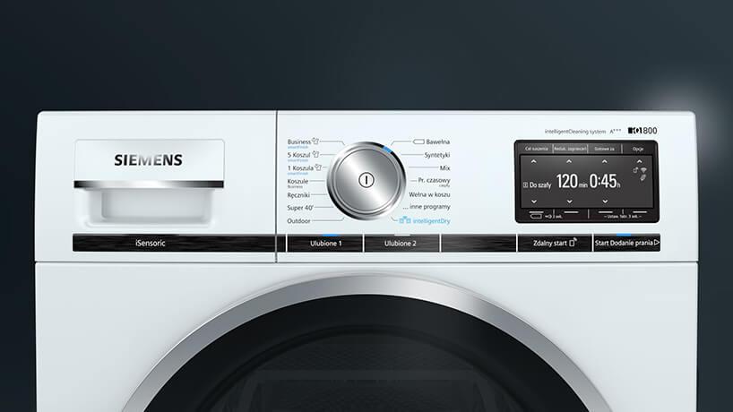 nowoczesna biała pralka Siemens IQ800 zbliżenie na panel steropwania