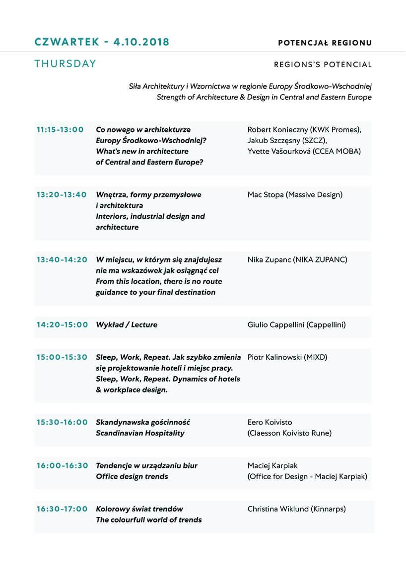 Plan wykładów na czwartek Warsaw Home 2018