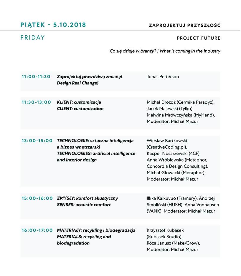 Plan wykładów na piątek Warsaw Home 2018