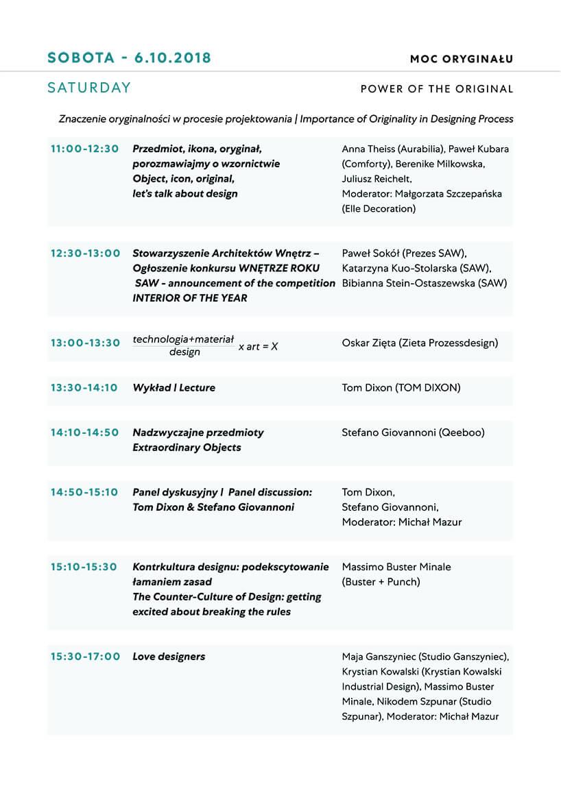 Plan wykładów na sobotę Warsaw Home 2018