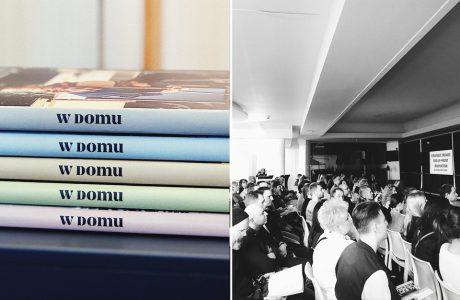 """5 książek """"w domu"""" VOX obok widowni na premierze"""