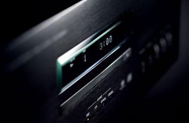 przedni panel czarnego odtwarzacza CD