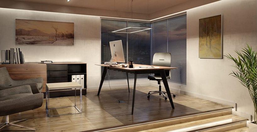 prostokątna lampa wisząca led nad eleganckim biurkiem zdrewnianym blatem na parkiecie