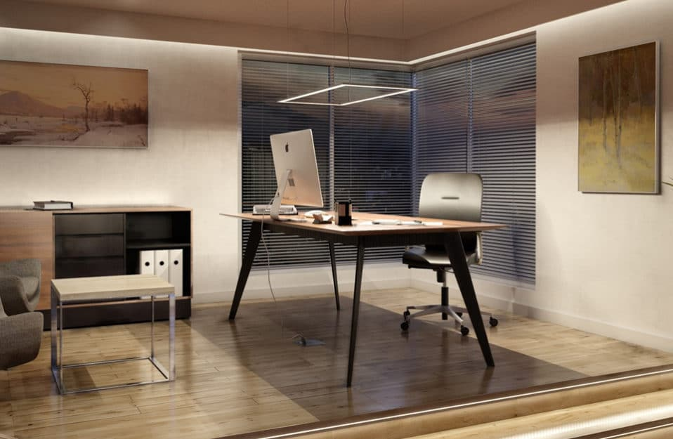 prostokątna lampa wisząca led nad eleganckim biurkiem z drewnianym blatem na parkiecie