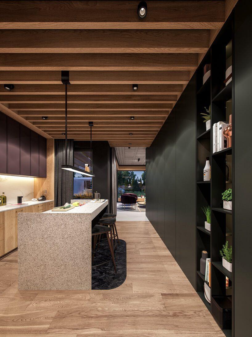 projekt nowoczesnego wnętrza domu od Zarysy drewniana kuchnia zmałą kamienną wyspą pod drewnianym sufitem zbelek