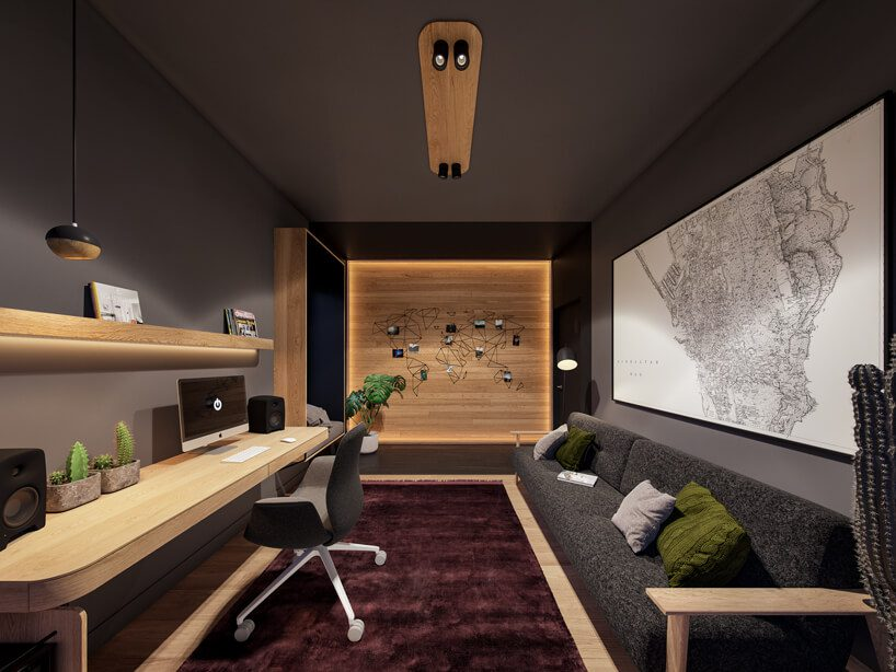 projekt nowoczesnego wnętrza domu od Zarysy szary gabinet zszarą sofą zdługim biurkiem pod ścianą