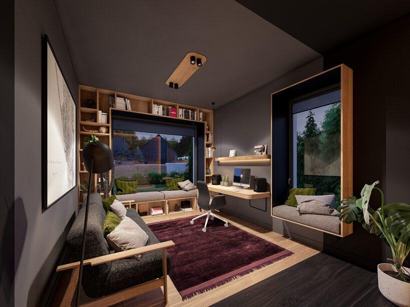 projekt nowoczesnego wnętrza domu od Zarysy kwadratowy szary gabinet zdrewnianą ciemno szarą sofą izabudową wokół okien