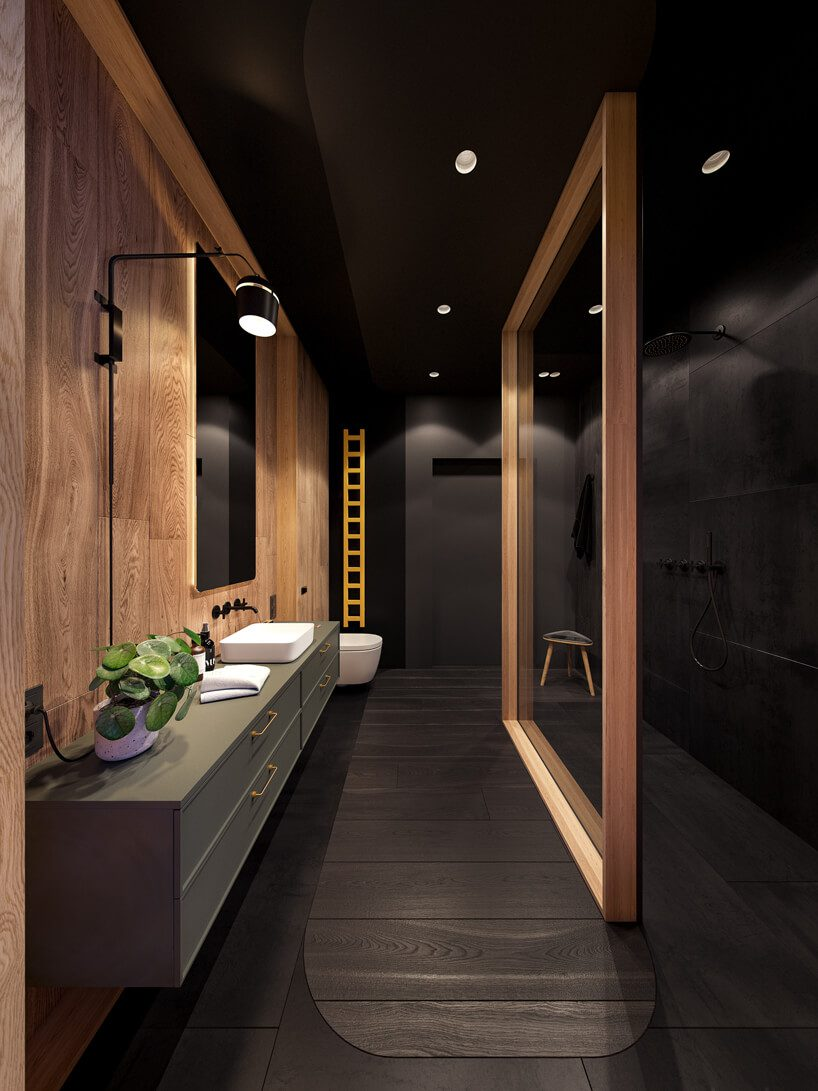 projekt nowoczesnego wnętrza domu od Zarysy małą czarna łazienka zjedną ścianą wykończoną jasnym drewnem