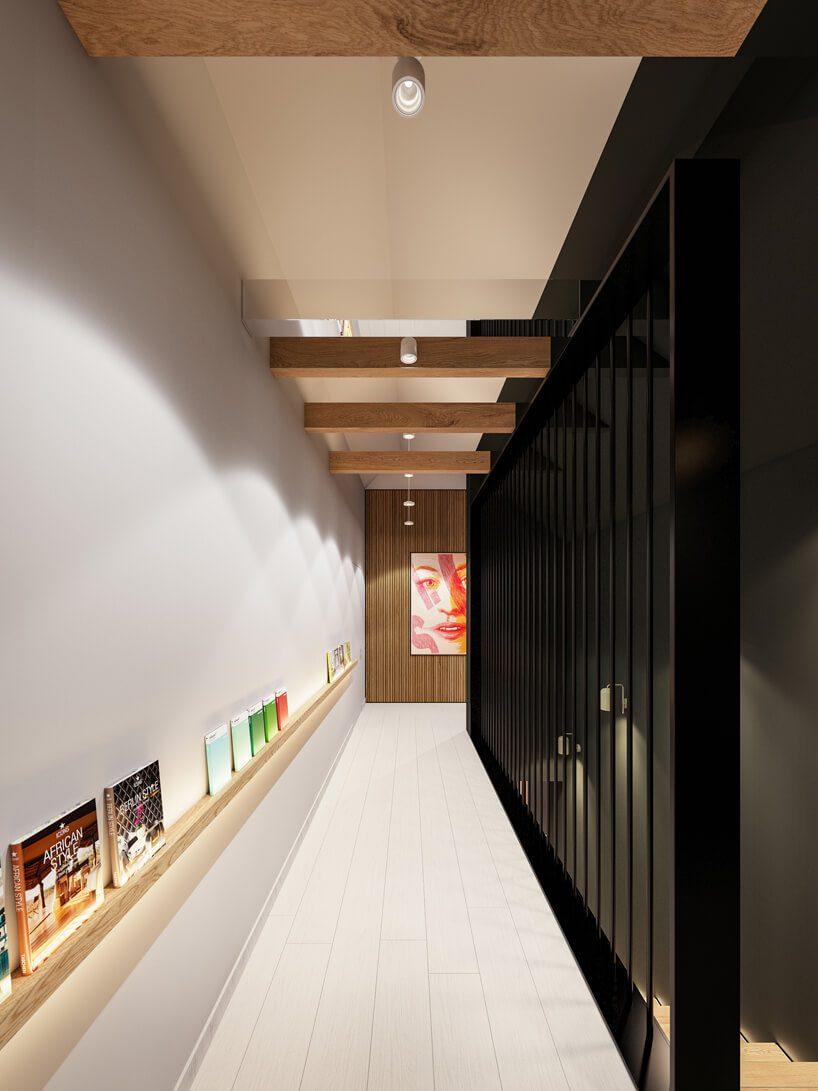 projekt nowoczesnego wnętrza domu od Zarysy biały korytarz na piętrze zczarną ścianką przy schodach