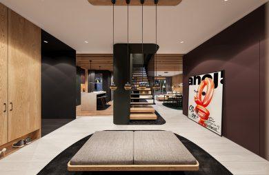projekt nowoczesnego wnętrza domu od Zarysy hol z brązową ścianą i drewnianą zabudową