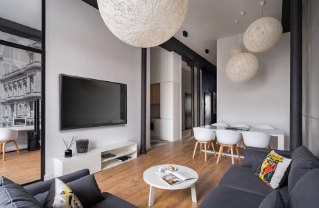 nowoczesne wnętrze w biało-szarej kolorystyce