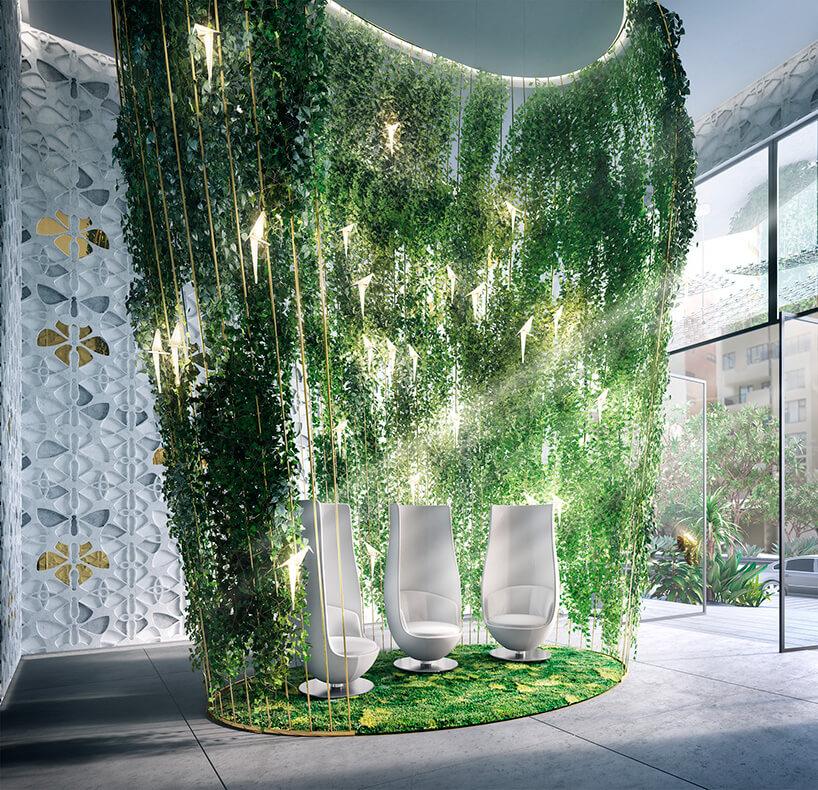 roślinna zielona ściana we wnętrzu