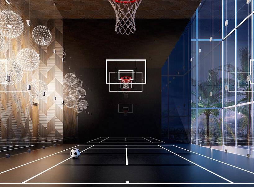 czarne boisko do koszykówki