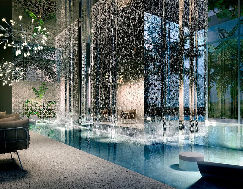 wewnętrzny basen zwyspą za wodospadem