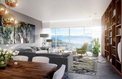ładny salon z panoramicznym oknem