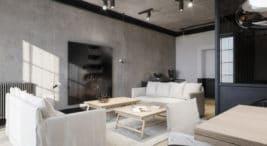 projekt minimalistycznego apartementu wciemnje kolorystyce studio o.