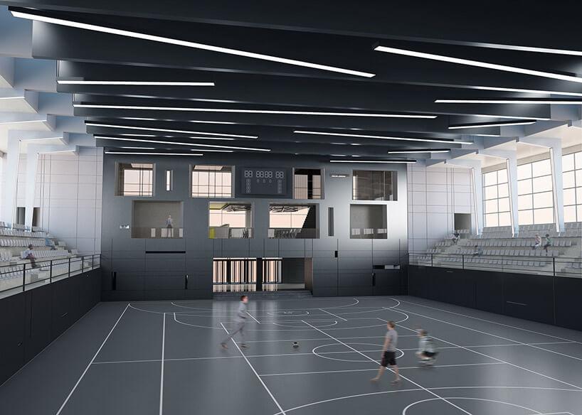 projekt hali sportowej wszarych kolorach