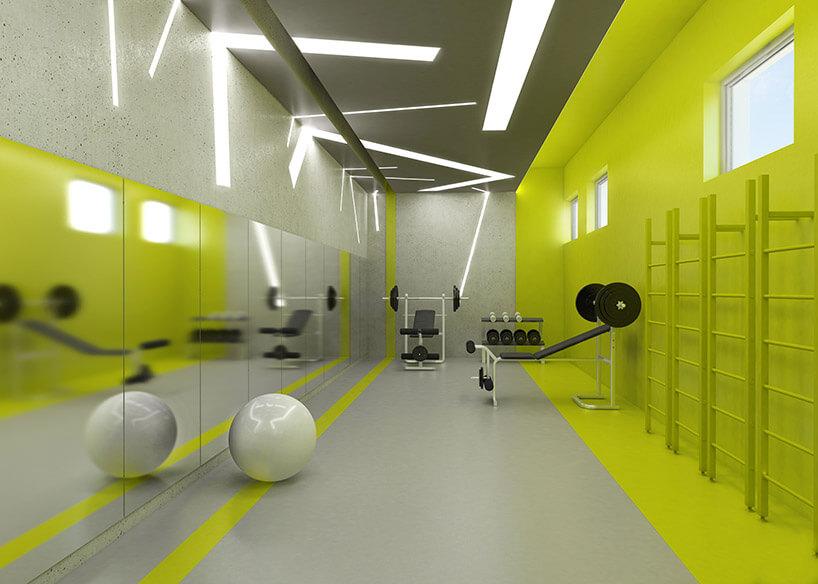 projekt siłowni wzielonym kolorze