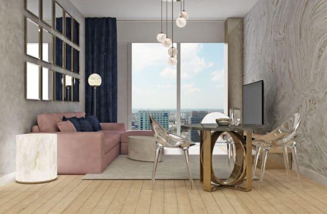 luksusowe wnętrze projektu aliny badory ze stolikiem z alabastru i pudrową sofą