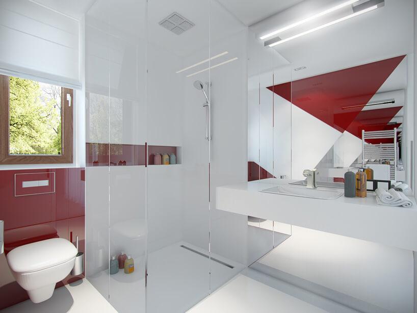 łazienka zczerwonymi elementami